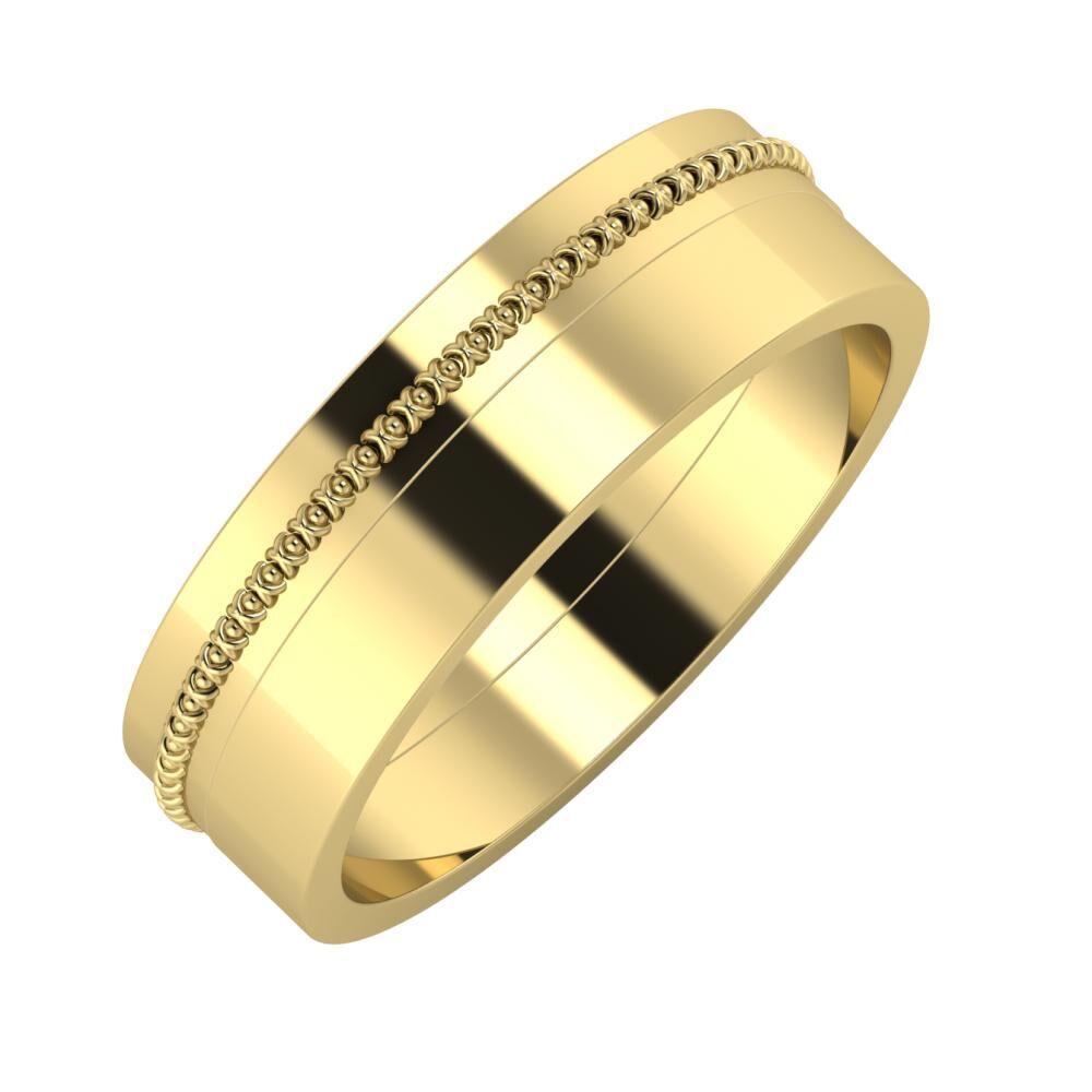 Afrodita - Adela 6mm 14 karátos sárga arany karikagyűrű