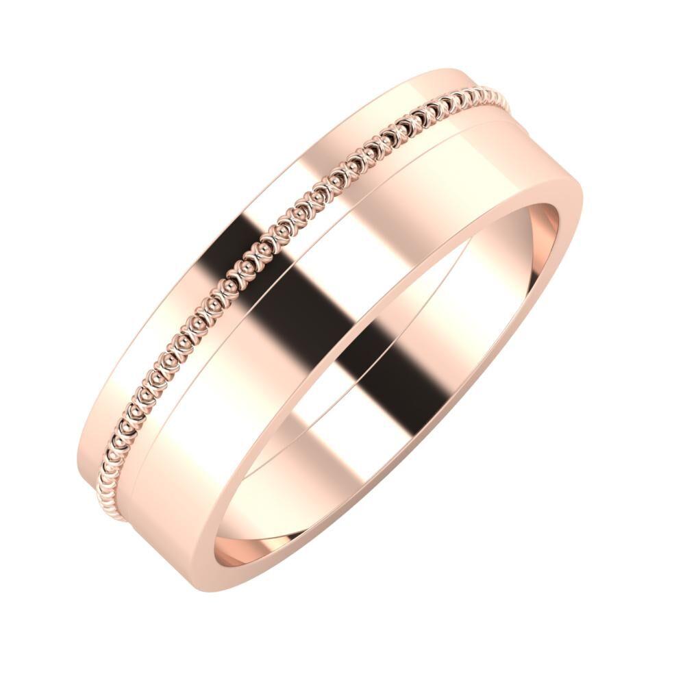 Afrodita - Adela 6mm 18 karátos rosé arany karikagyűrű