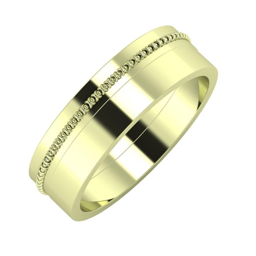 Afrodita - Adela 6mm 14 karátos zöld arany karikagyűrű