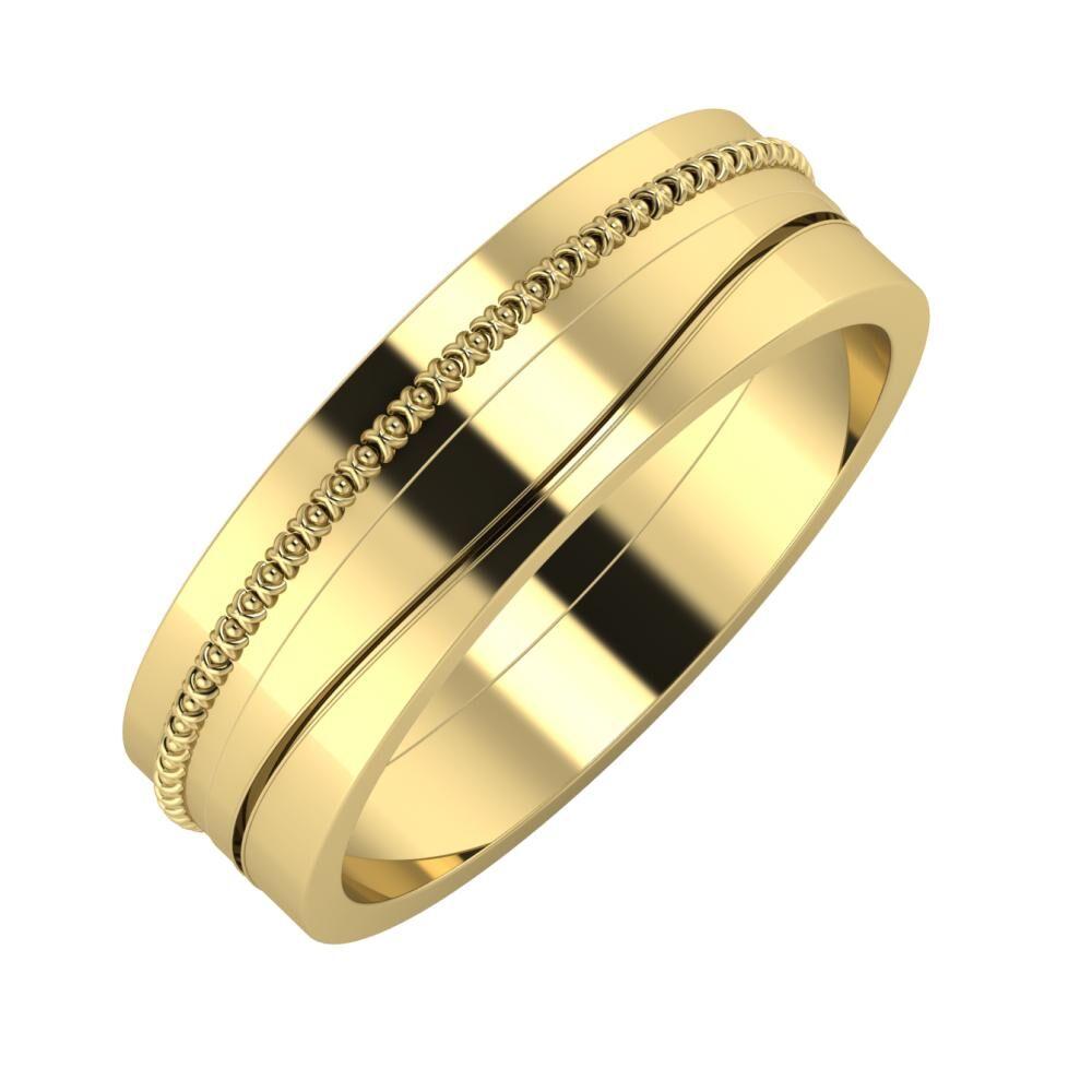 Afrodita - Adelinda 6mm 14 karátos sárga arany karikagyűrű