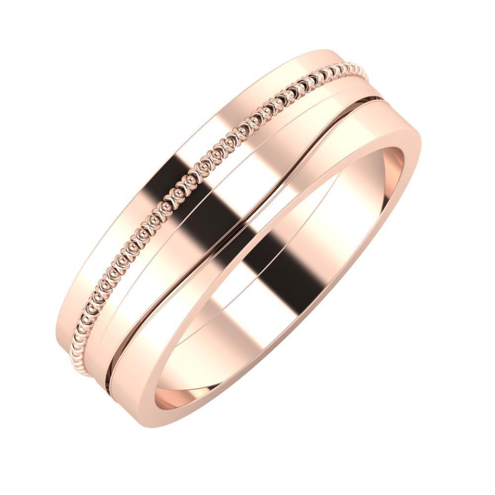 Afrodita - Adelinda 6mm 14 karátos rosé arany karikagyűrű