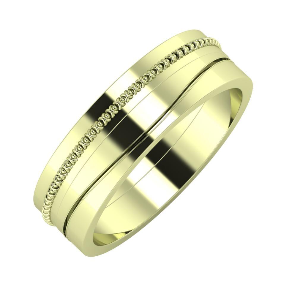 Afrodita - Adelinda 6mm 14 karátos zöld arany karikagyűrű