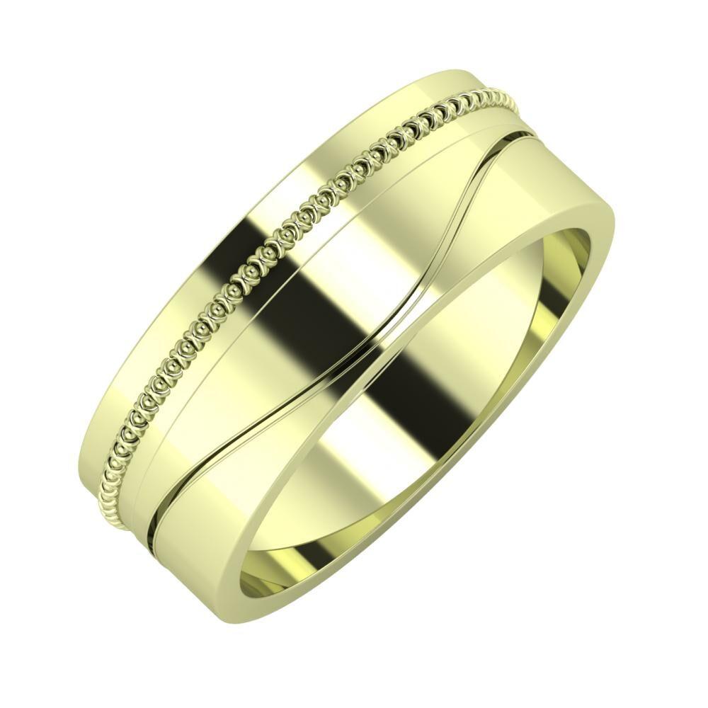 Afrodita - Adelinda 7mm 14 karátos zöld arany karikagyűrű