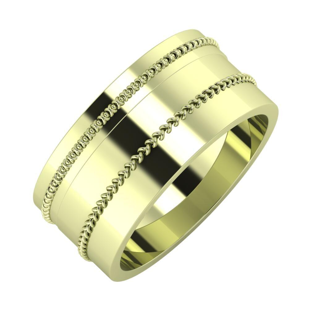 Afrodita - Áfonya 9mm 14 karátos zöld arany karikagyűrű