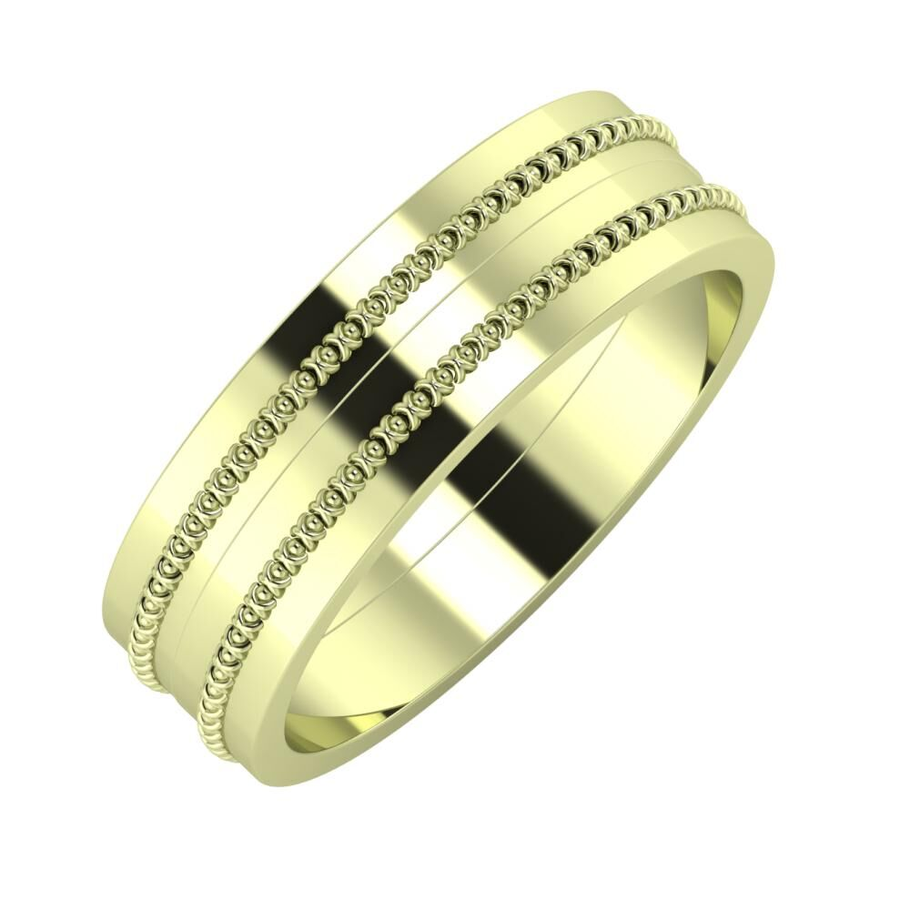 Afrodita - Afrodita 6mm 14 karátos zöld arany karikagyűrű