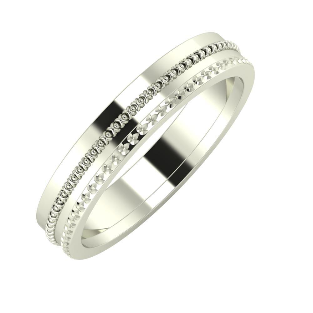 Afrodita - Ági 4mm 14 karátos fehér arany karikagyűrű