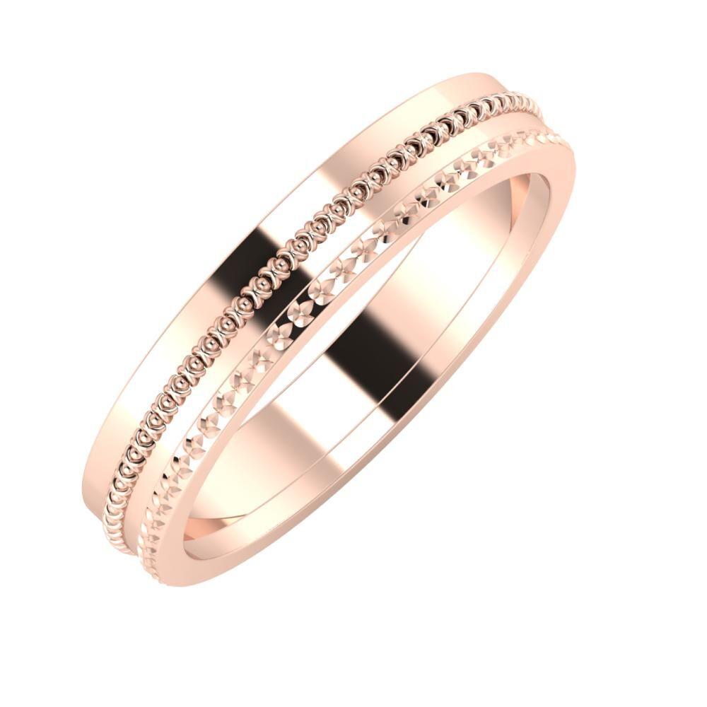 Afrodita - Ági 4mm 14 karátos rosé arany karikagyűrű