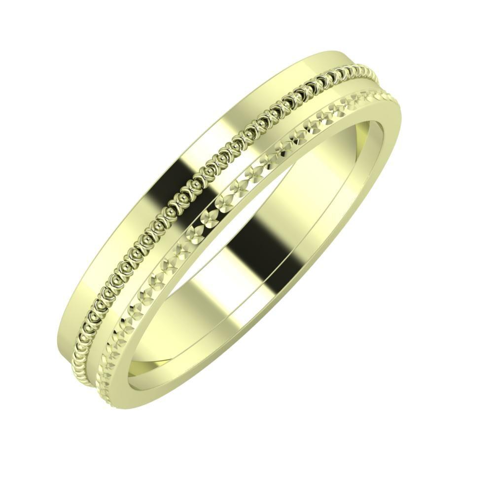 Afrodita - Ági 4mm 14 karátos zöld arany karikagyűrű
