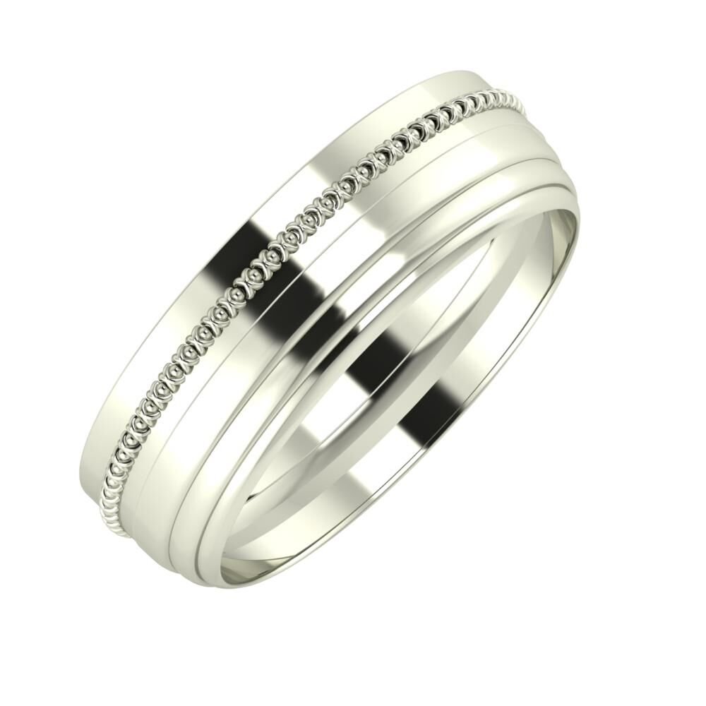 Afrodita - Aina 6mm 14 karátos fehér arany karikagyűrű
