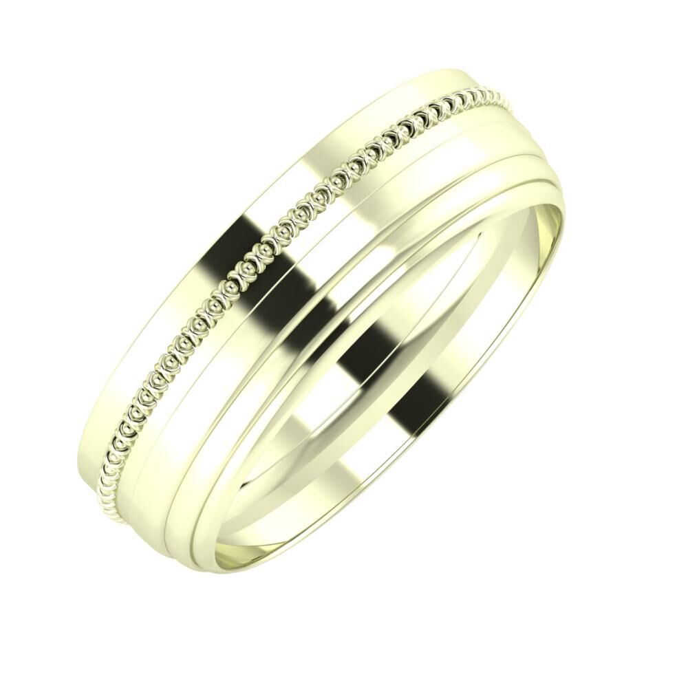 Afrodita - Aina 6mm 22 karátos fehér arany karikagyűrű