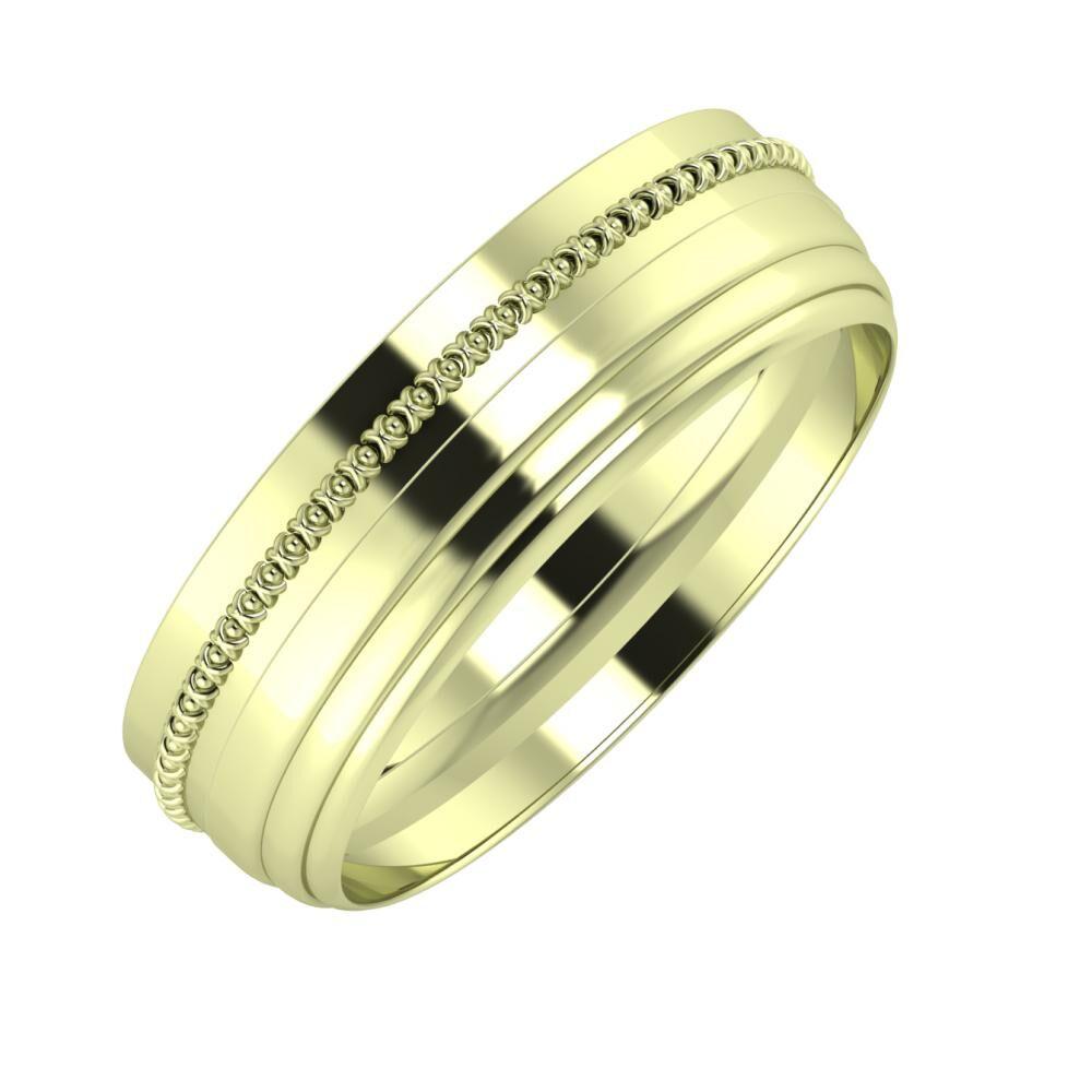 Afrodita - Aina 6mm 14 karátos zöld arany karikagyűrű