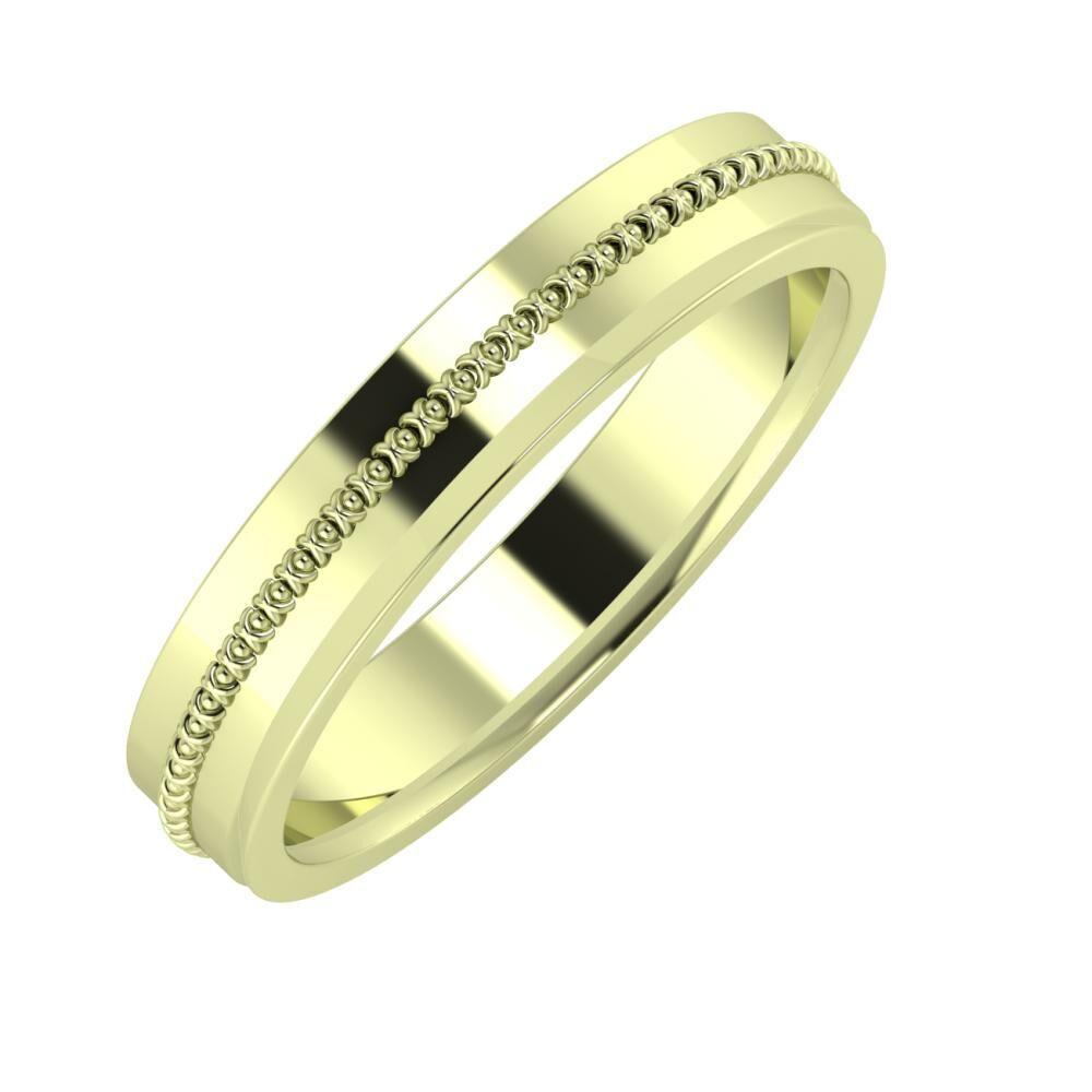 Afrodita - Aisa 4mm 14 karátos zöld arany karikagyűrű