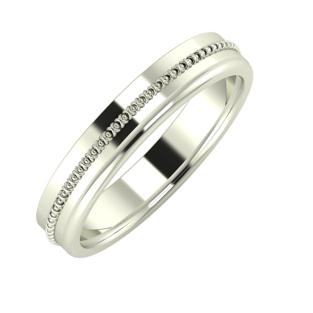 Afrodita - Alexandra 4mm 14 karátos fehér arany karikagyűrű