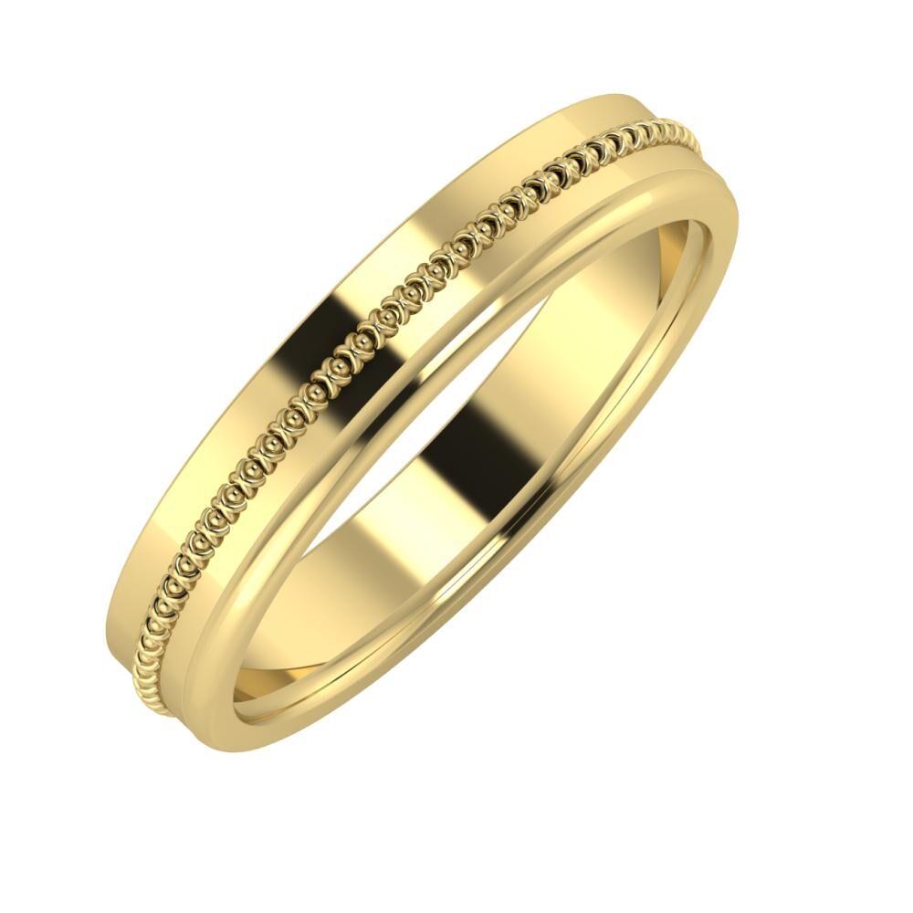 Afrodita - Alexandra 4mm 14 karátos sárga arany karikagyűrű