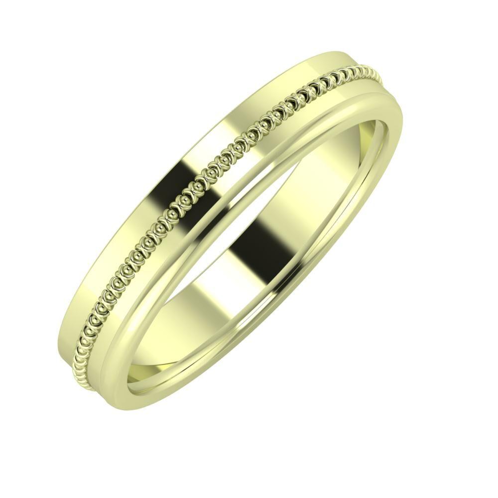 Afrodita - Alexandra 4mm 14 karátos zöld arany karikagyűrű