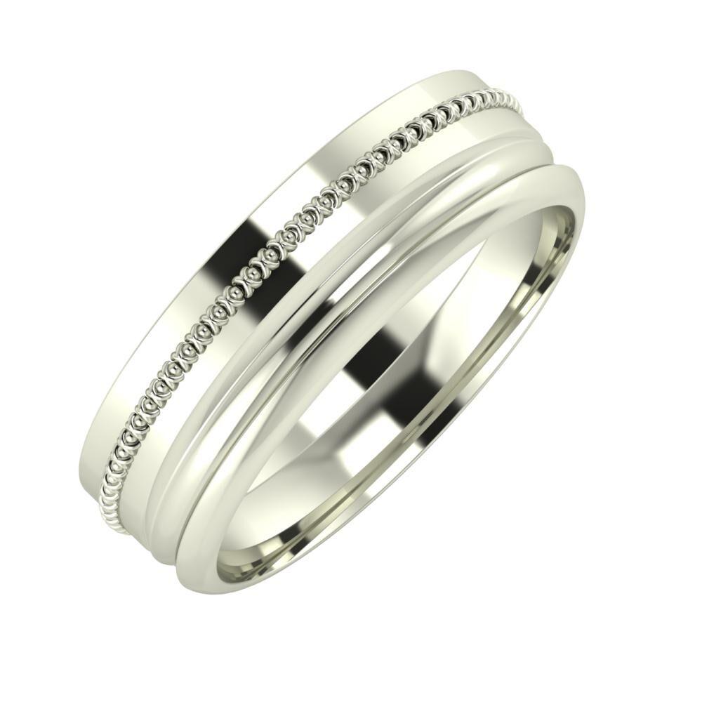 Afrodita - Alexandrin 6mm 14 karátos fehér arany karikagyűrű
