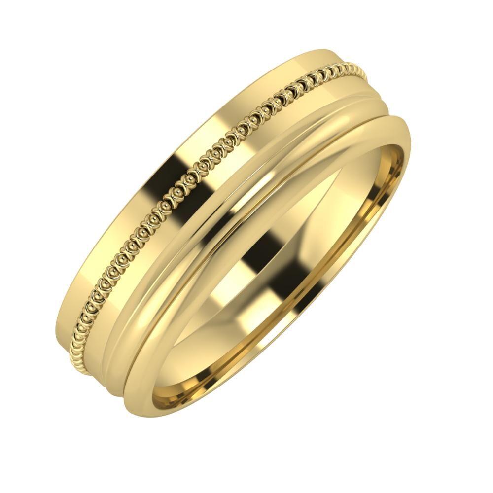 Afrodita - Alexandrin 6mm 14 karátos sárga arany karikagyűrű