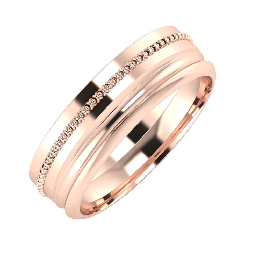 Afrodita - Alexandrin 6mm 14 karátos rosé arany karikagyűrű