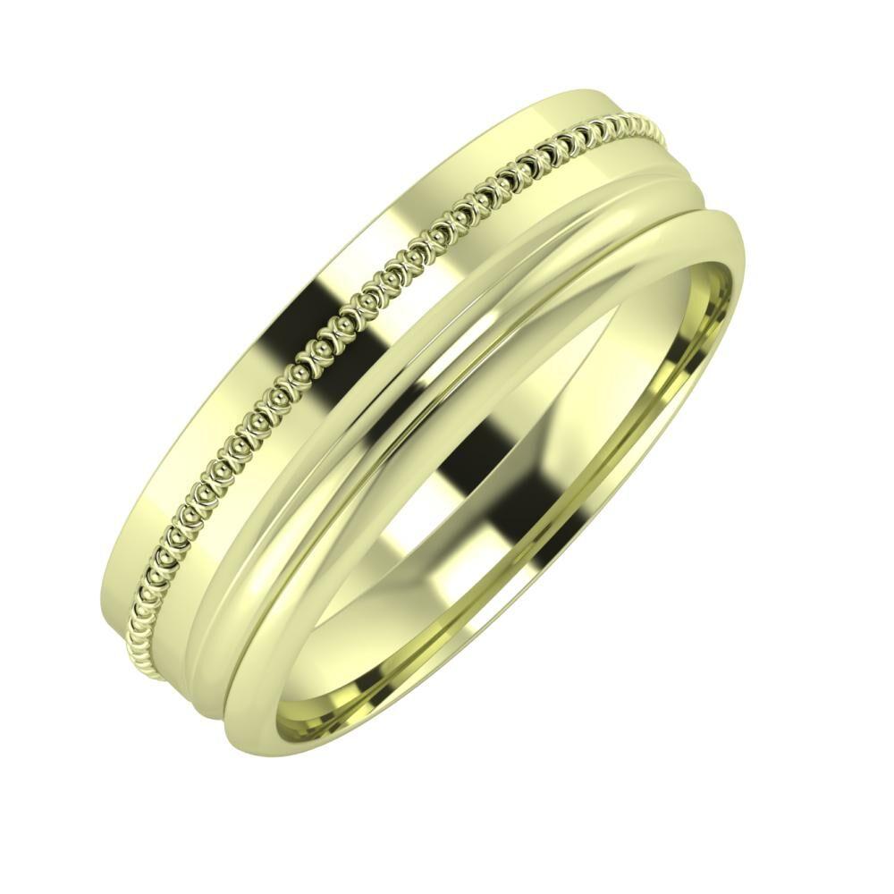 Afrodita - Alexandrin 6mm 14 karátos zöld arany karikagyűrű