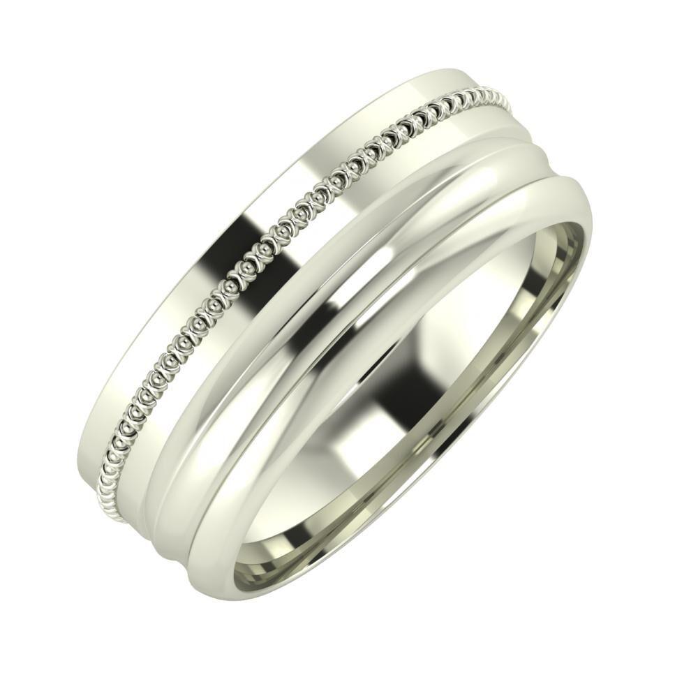 Afrodita - Alexandrin 7mm 14 karátos fehér arany karikagyűrű