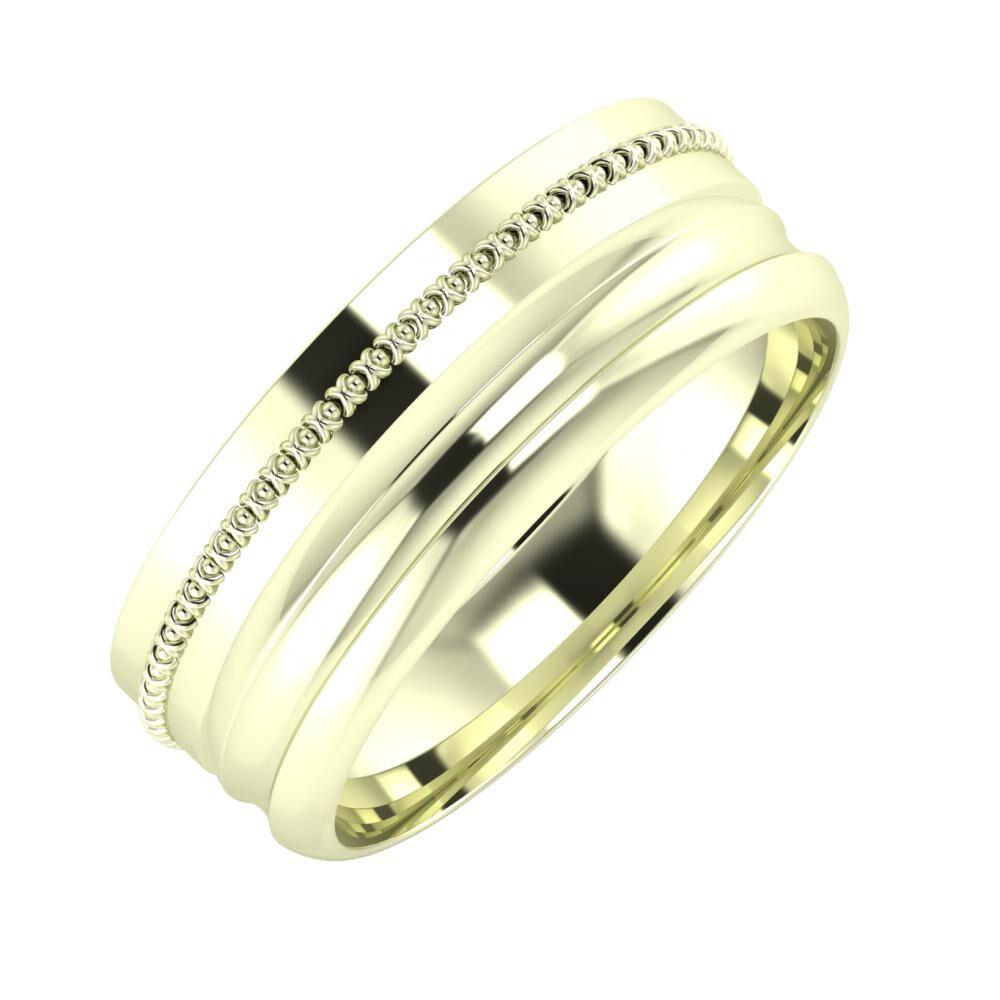 Afrodita - Alexandrin 7mm 22 karátos fehér arany karikagyűrű