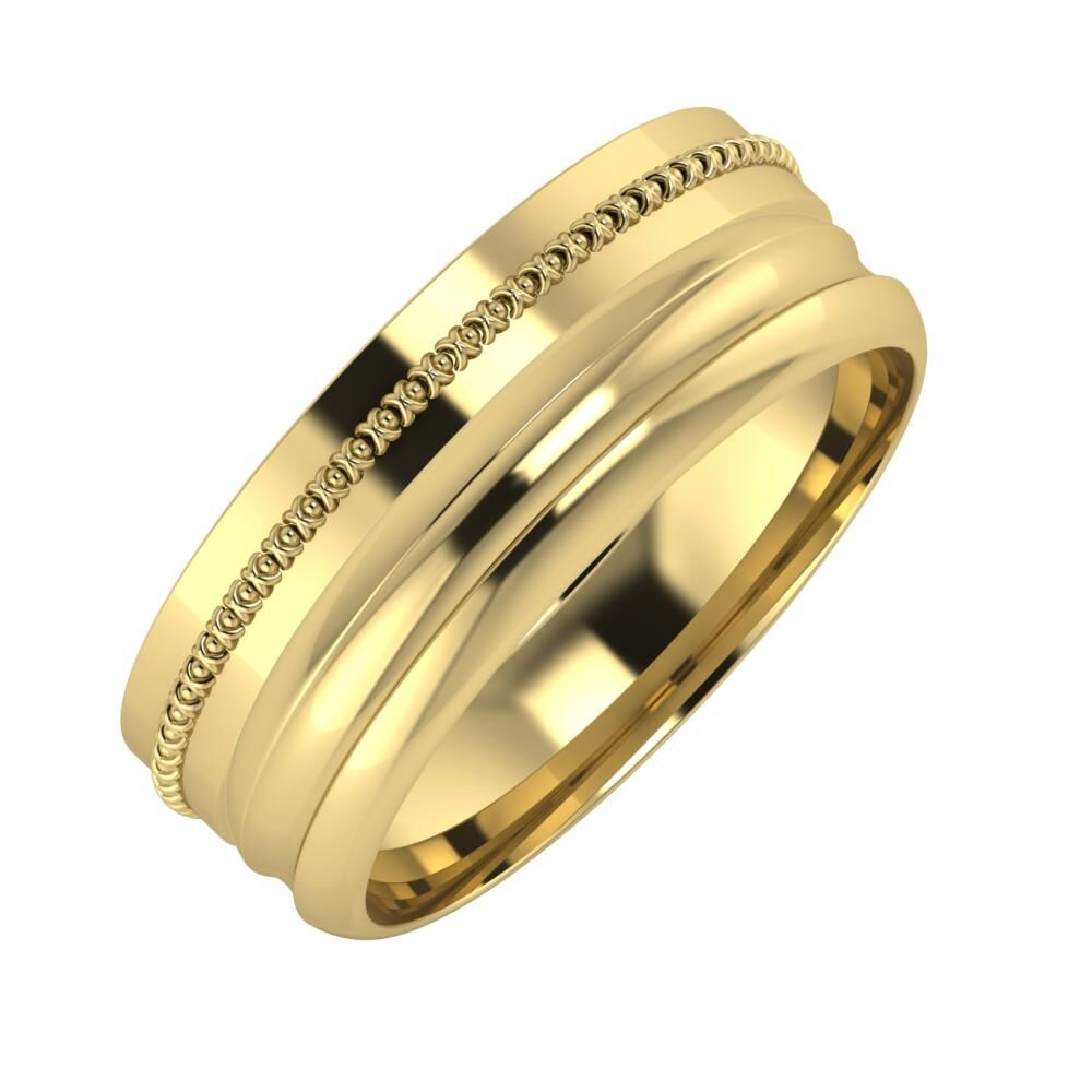 Afrodita - Alexandrin 7mm 14 karátos sárga arany karikagyűrű