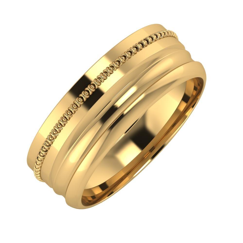 Afrodita - Alexandrin 7mm 22 karátos sárga arany karikagyűrű