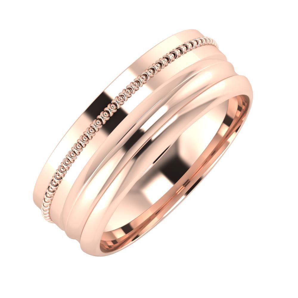 Afrodita - Alexandrin 7mm 18 karátos rosé arany karikagyűrű