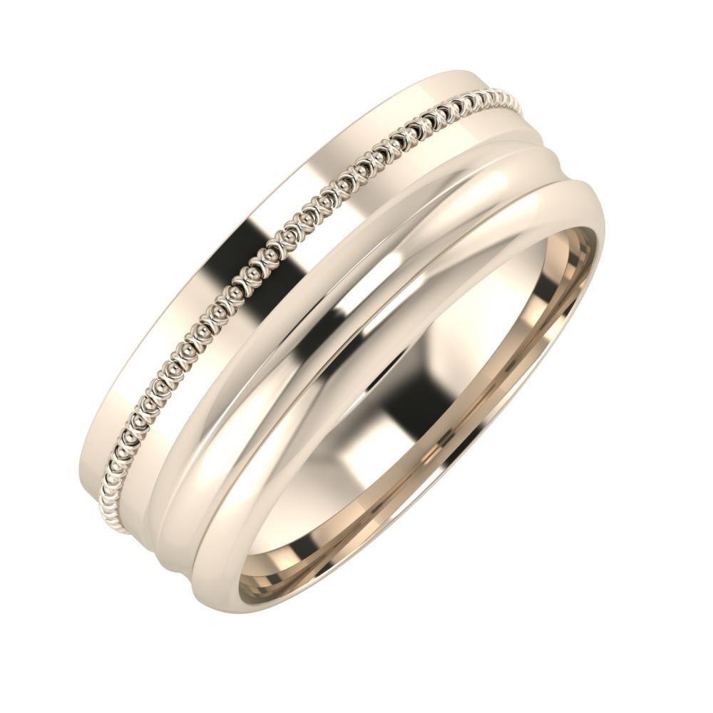Afrodita - Alexandrin 7mm 22 karátos rosé arany karikagyűrű