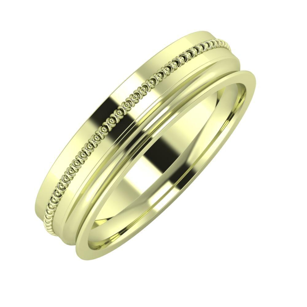 Afrodita - Alexandrina 5mm 14 karátos zöld arany karikagyűrű