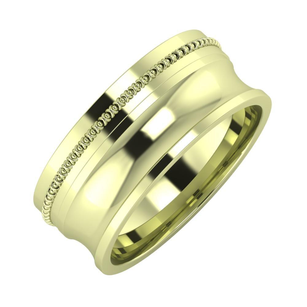 Afrodita - Alexandrina 8mm 14 karátos zöld arany karikagyűrű