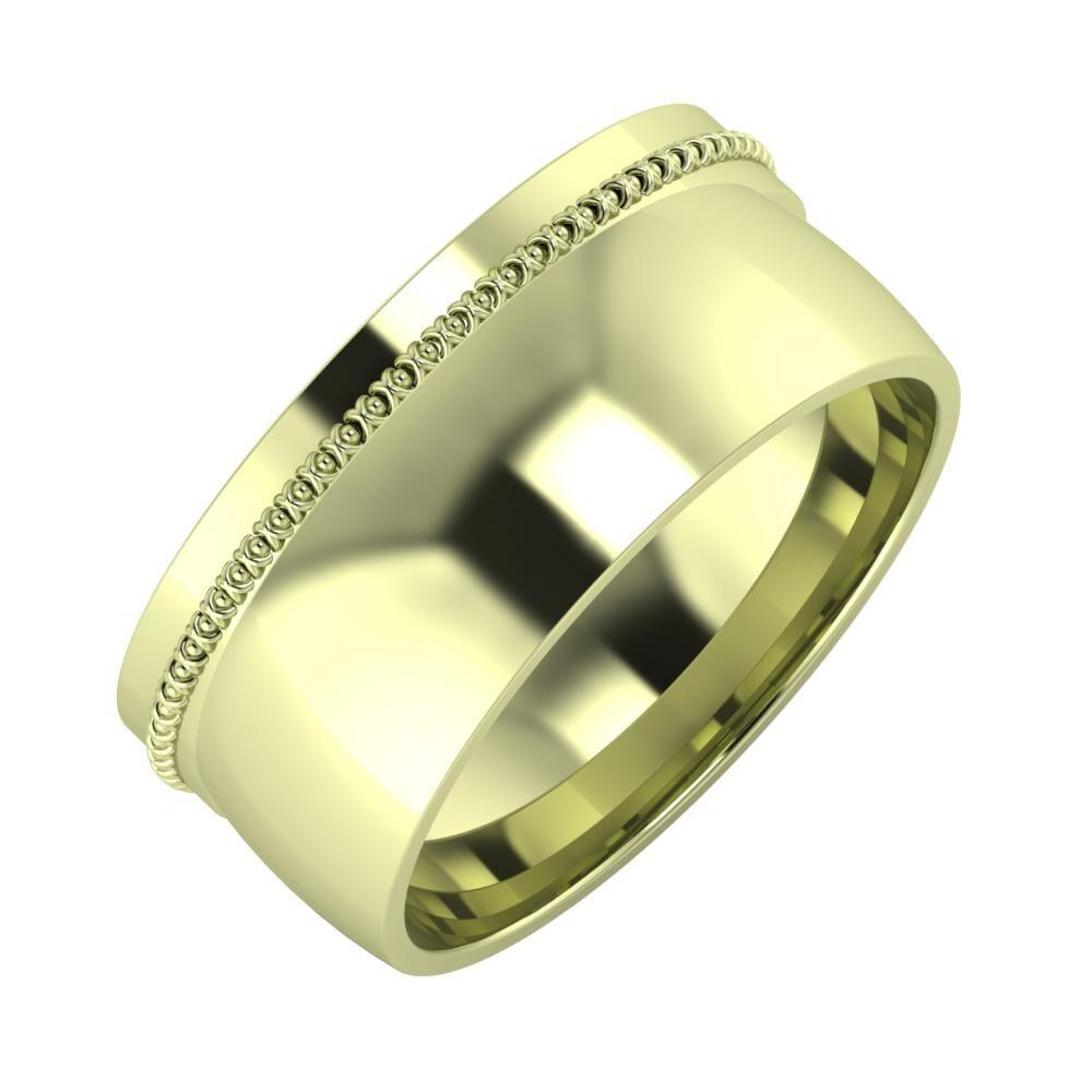 Afrodita - Alma 9mm 14 karátos zöld arany karikagyűrű