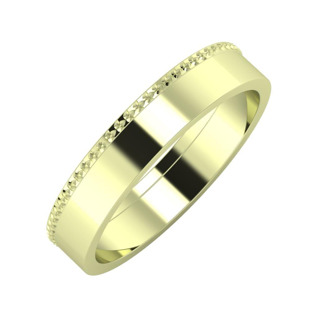 Ági - Adela 4mm 14 karátos zöld arany karikagyűrű