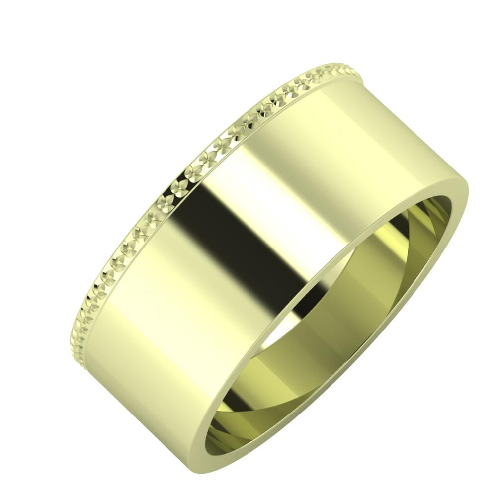 Ági - Adela 8mm 14 karátos zöld arany karikagyűrű