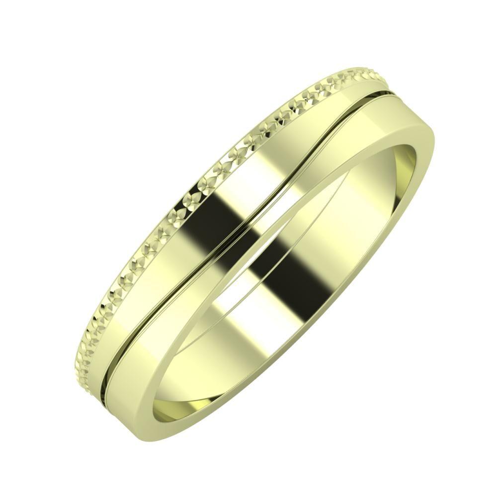 Ági - Adelinda 4mm 14 karátos zöld arany karikagyűrű