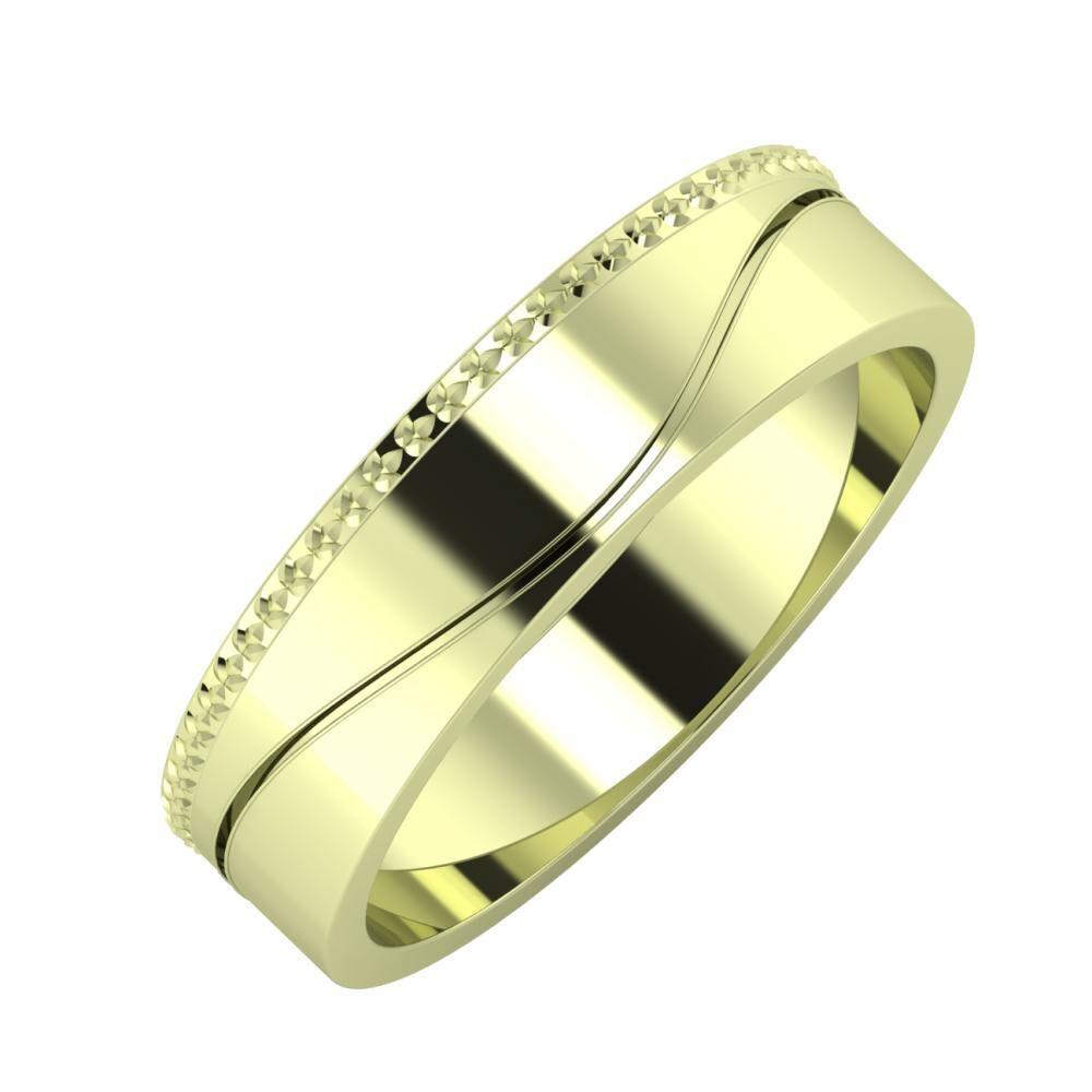 Ági - Adelinda 5mm 14 karátos zöld arany karikagyűrű