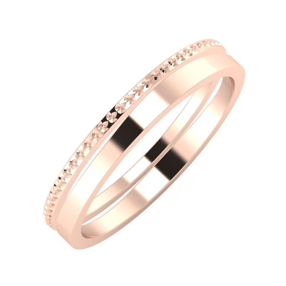 Ági - Adria 3mm 14 karátos rosé arany karikagyűrű