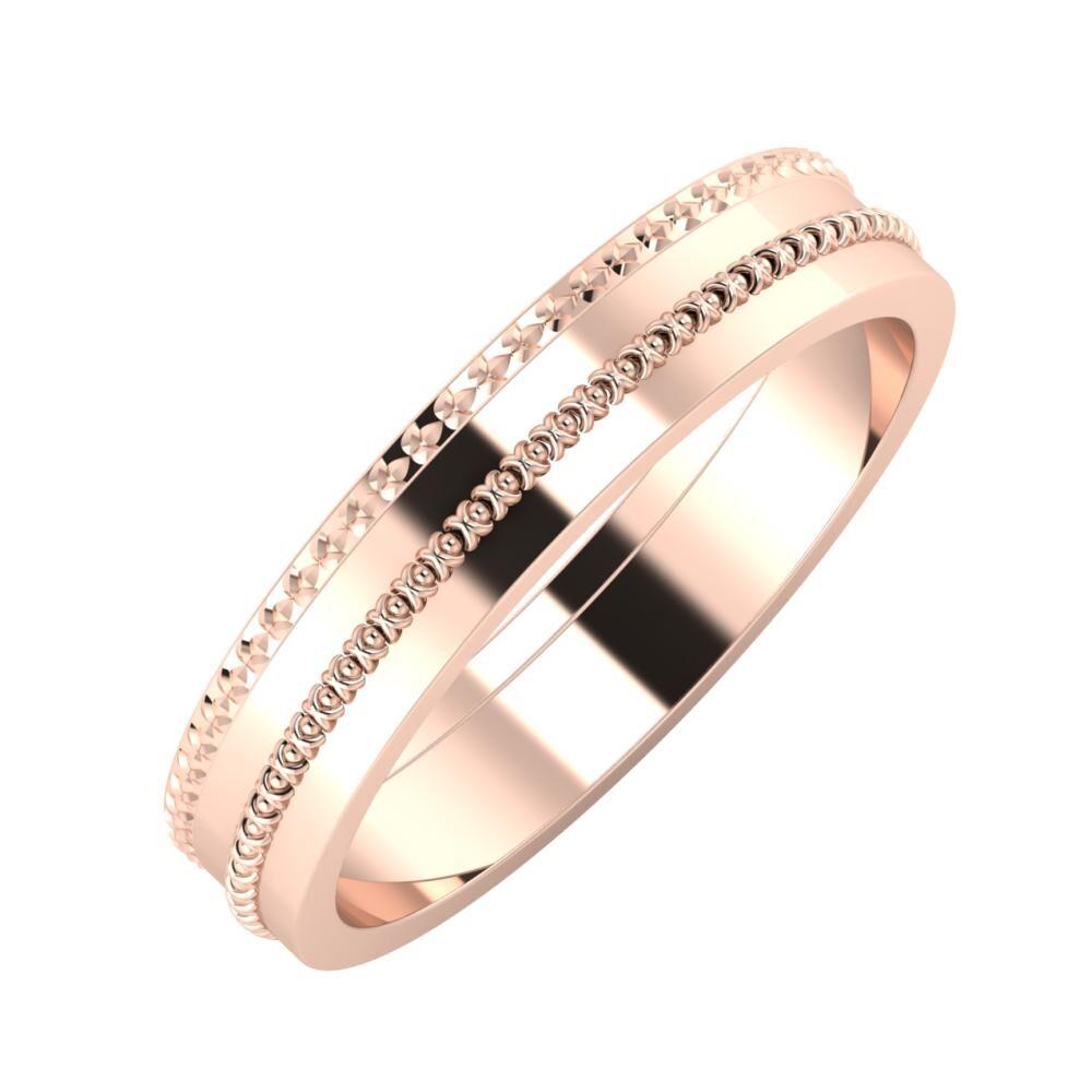 Ági - Afrodita 4mm 14 karátos rosé arany karikagyűrű