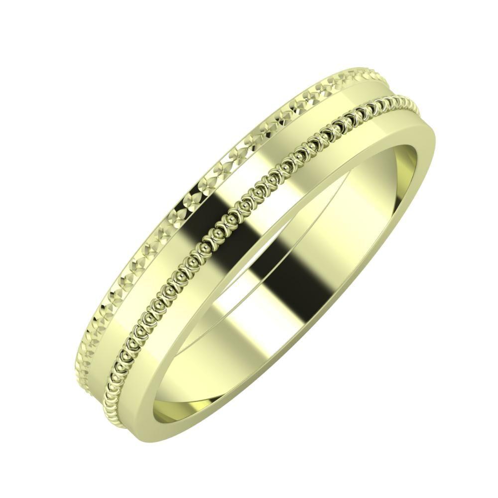 Ági - Afrodita 4mm 14 karátos zöld arany karikagyűrű