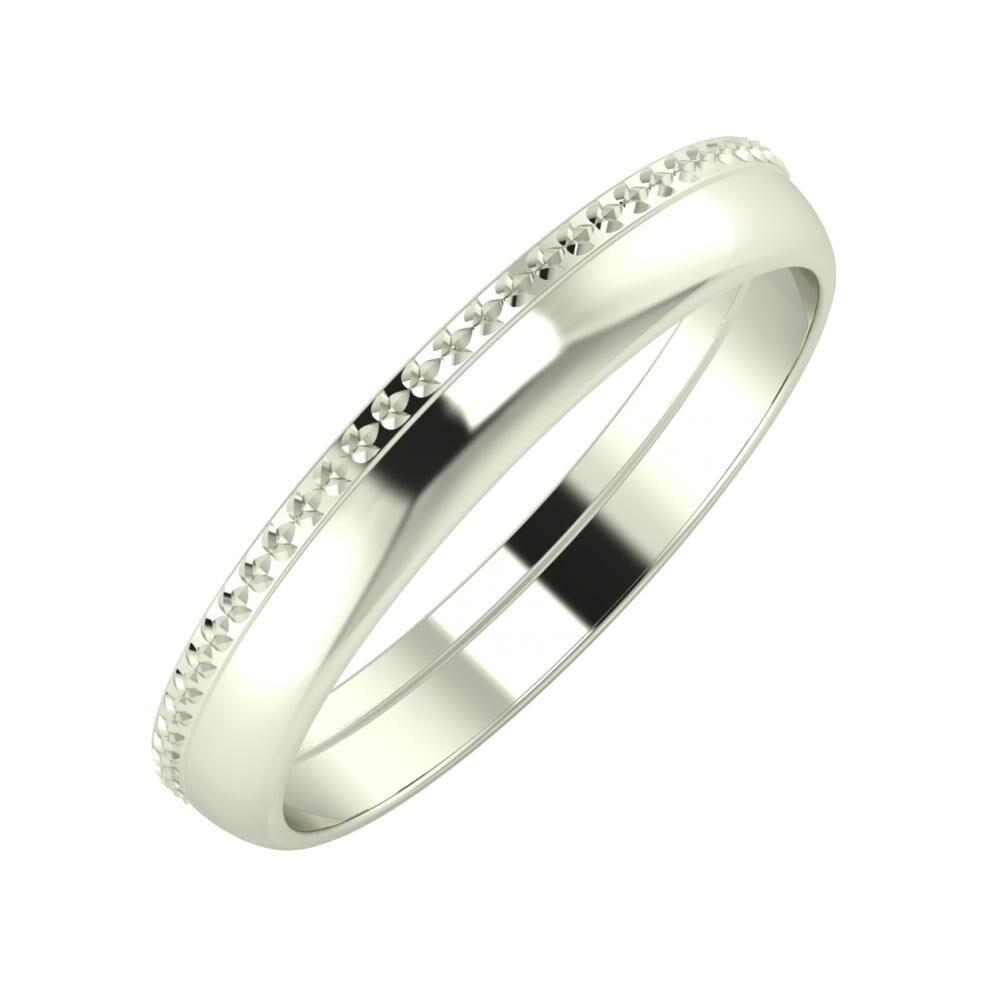 Ági - Ágosta 3mm 14 karátos fehér arany karikagyűrű