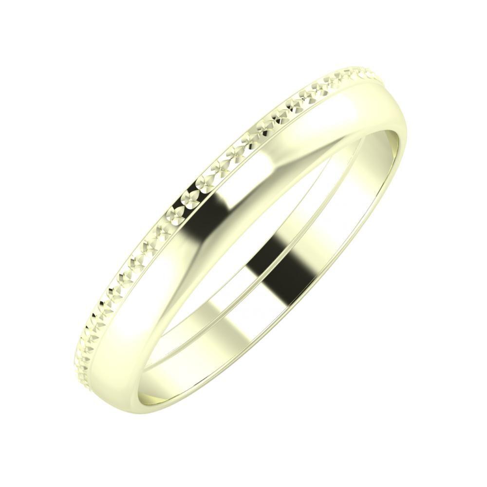 Ági - Ágosta 3mm 22 karátos fehér arany karikagyűrű