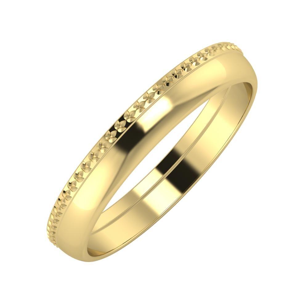 Ági - Ágosta 3mm 14 karátos sárga arany karikagyűrű