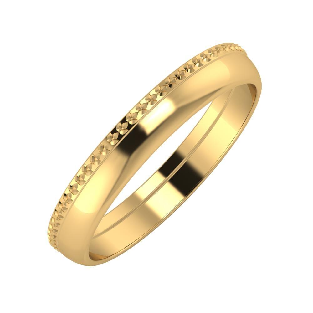 Ági - Ágosta 3mm 18 karátos sárga arany karikagyűrű