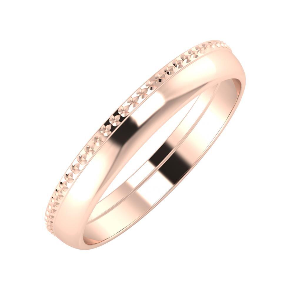 Ági - Ágosta 3mm 14 karátos rosé arany karikagyűrű