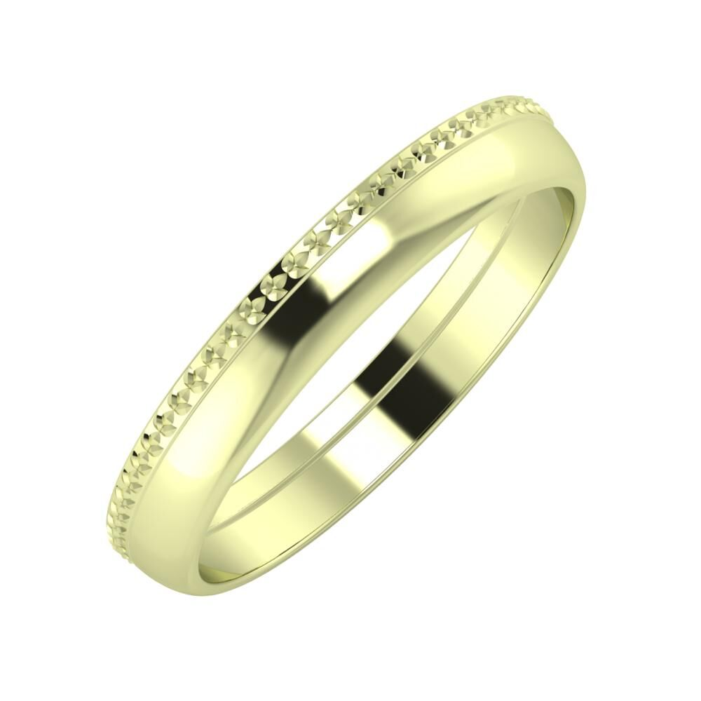 Ági - Ágosta 3mm 14 karátos zöld arany karikagyűrű