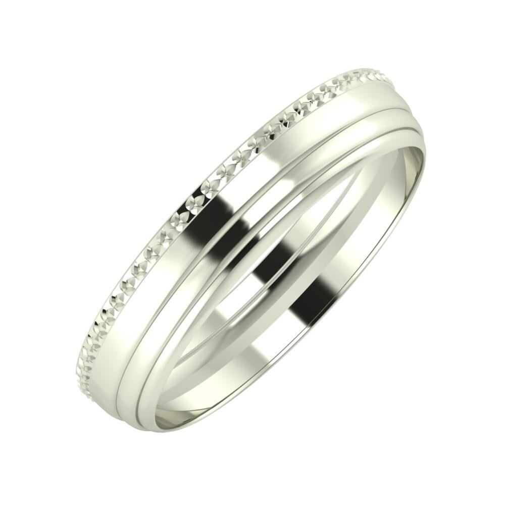Ági - Aina 4mm 14 karátos fehér arany karikagyűrű