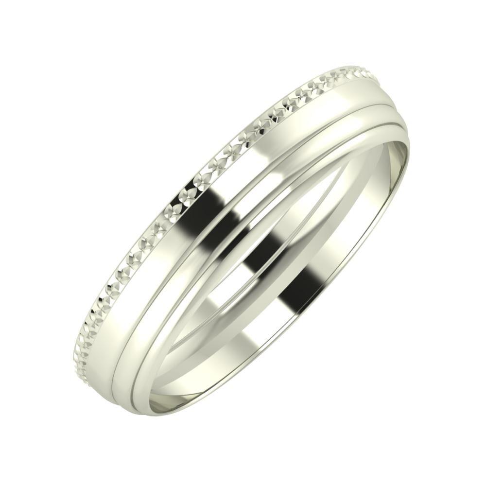 Ági - Aina 4mm 18 karátos fehér arany karikagyűrű