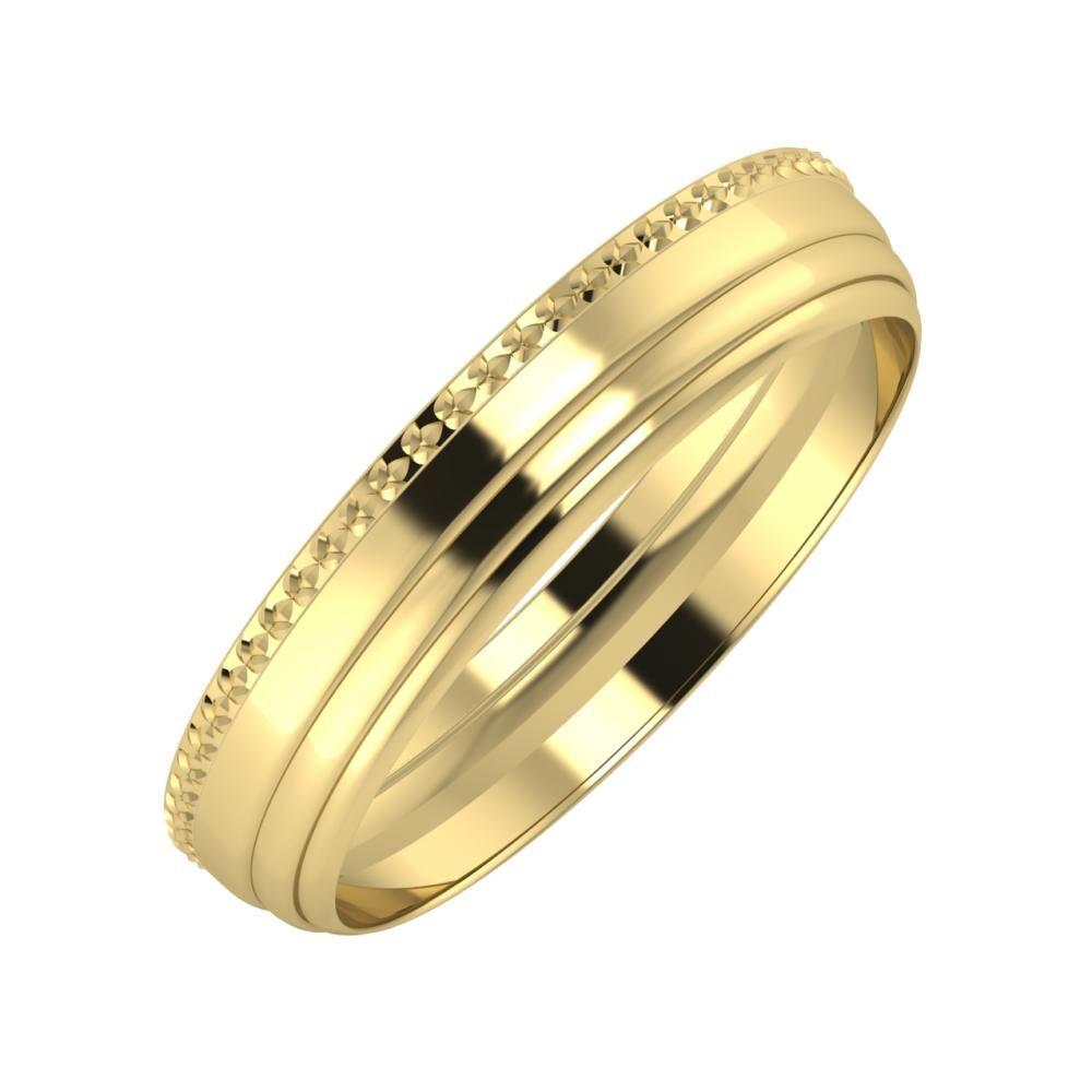 Ági - Aina 4mm 14 karátos sárga arany karikagyűrű