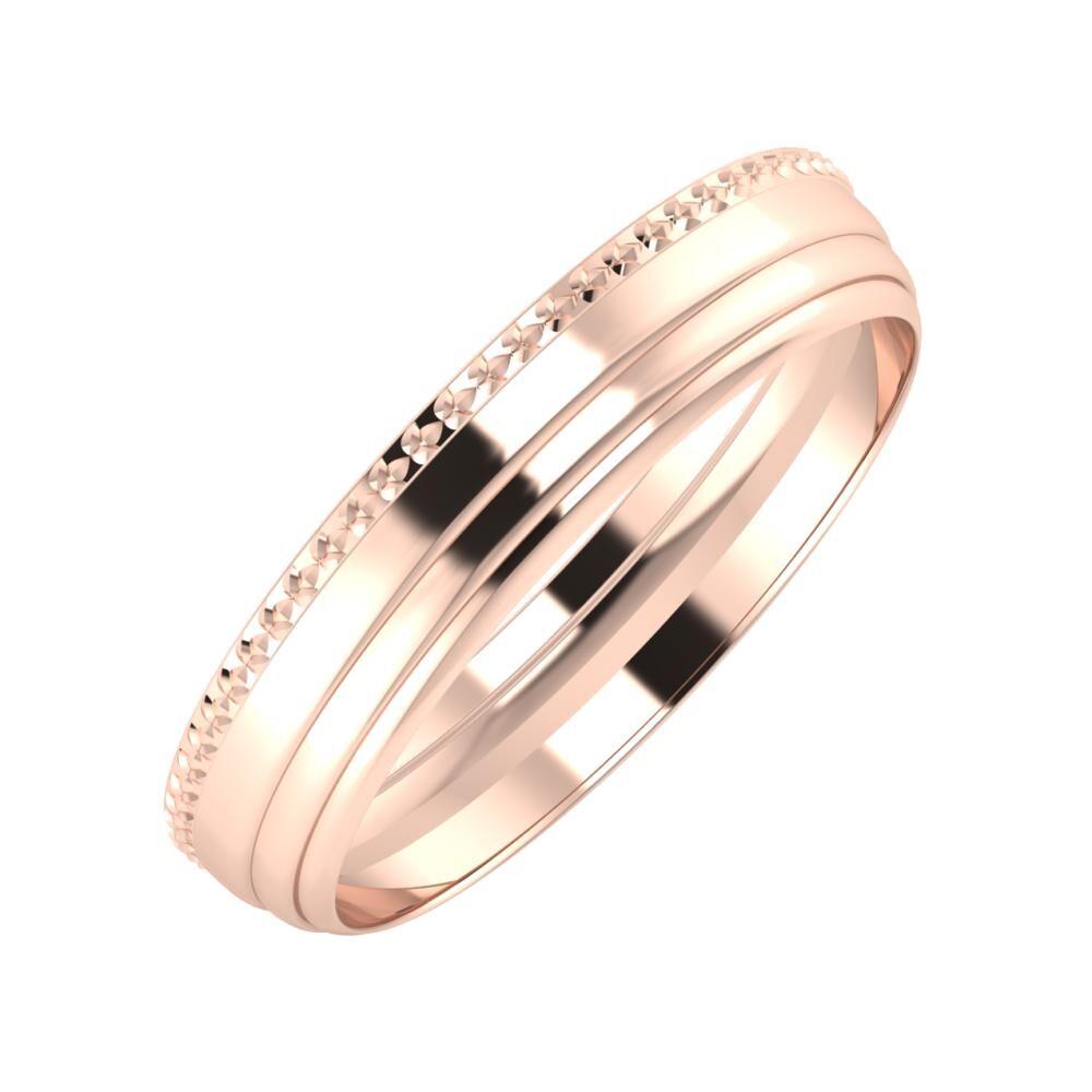 Ági - Aina 4mm 14 karátos rosé arany karikagyűrű