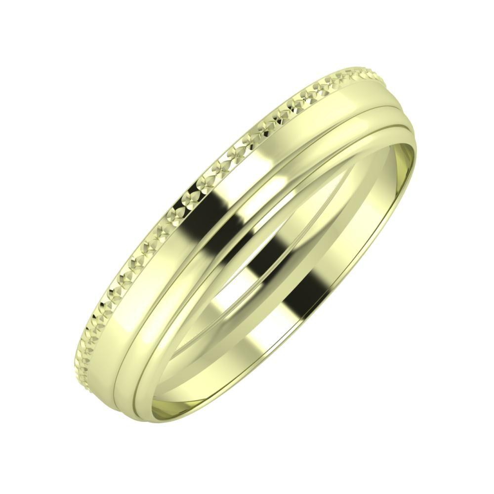 Ági - Aina 4mm 14 karátos zöld arany karikagyűrű